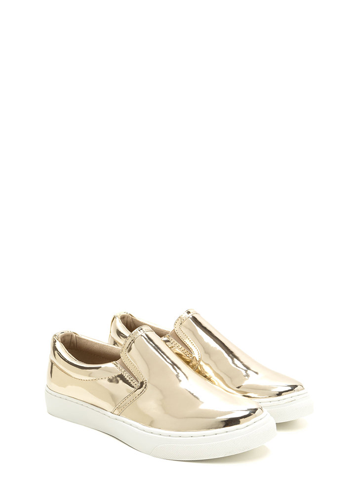 Tip To Toe Metallic Slip-On Sneakers LTGOLD