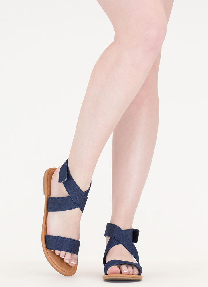 Cross My Mind Strappy Denim Sandals DKBLUE