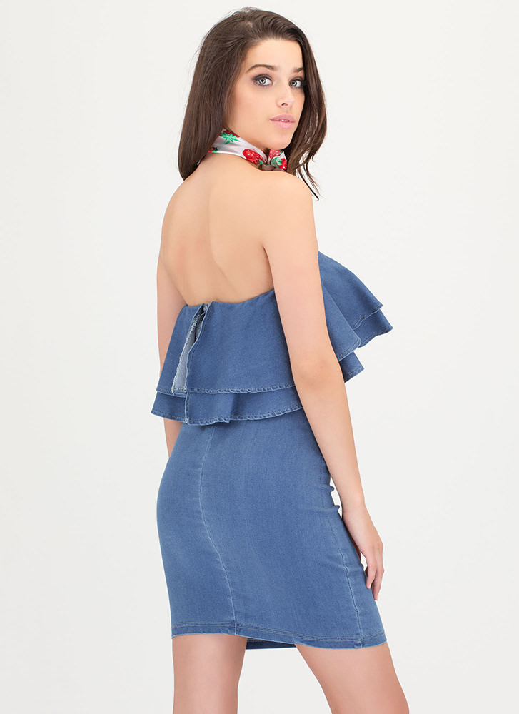 Weekend Adventure Ruffled Denim Dress BLUE