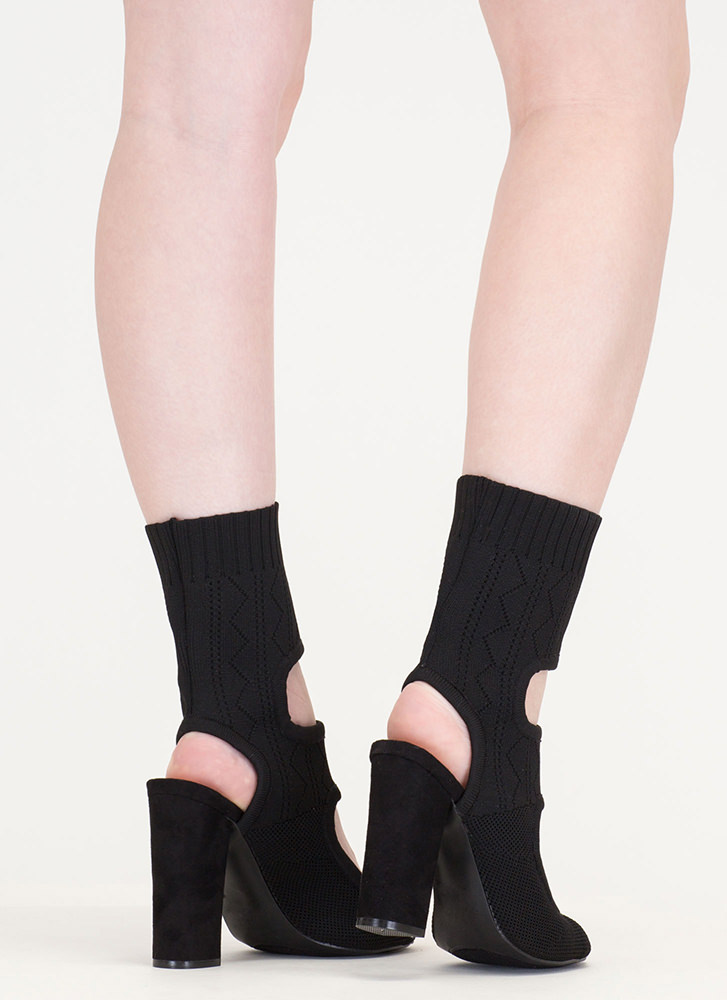 Knit Your Stride Cut-Out Chunky Booties BLACK (Final Sale)