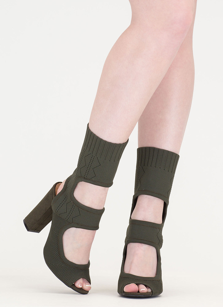 Knit Your Stride Cut-Out Chunky Booties OLIVE (Final Sale)