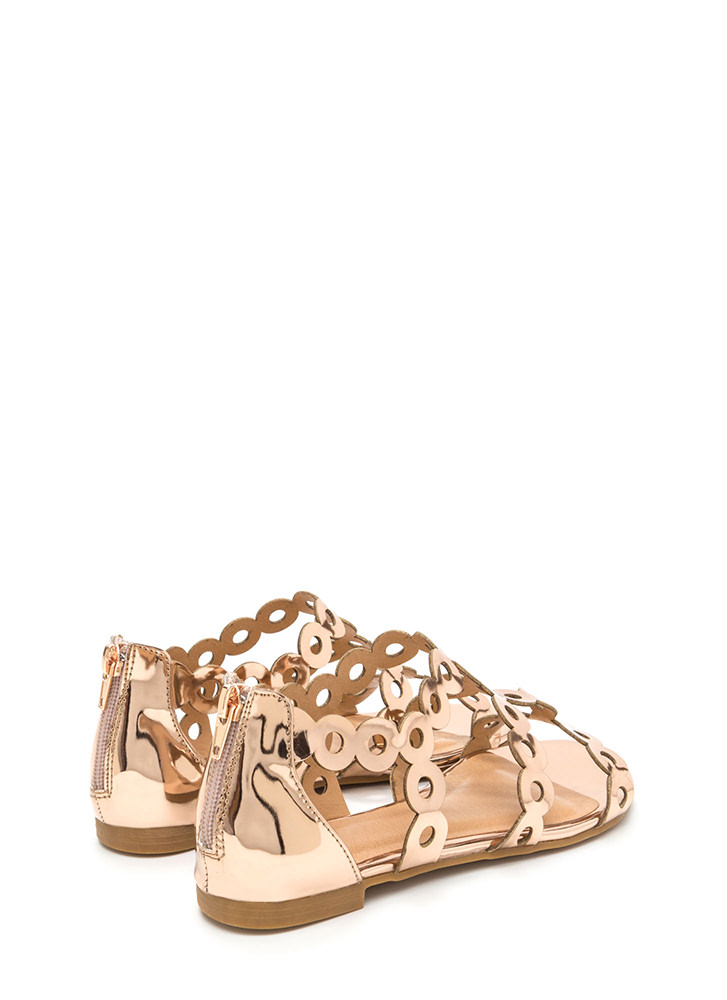 Round Trip Caged Metallic Sandals ROSEGOLD
