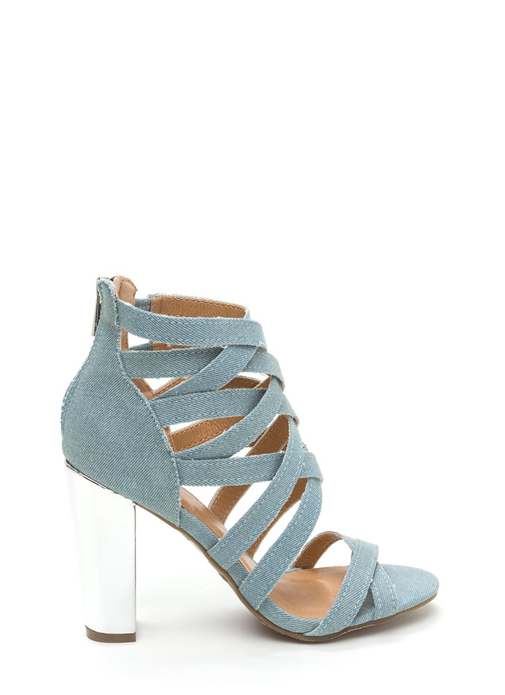 Casual Vibes Chunky Caged Denim Heels LTBLUE (Final Sale) ...