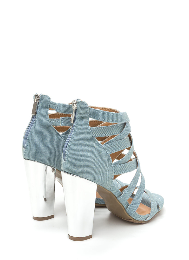 Casual Vibes Chunky Caged Denim Heels LTBLUE (Final Sale)