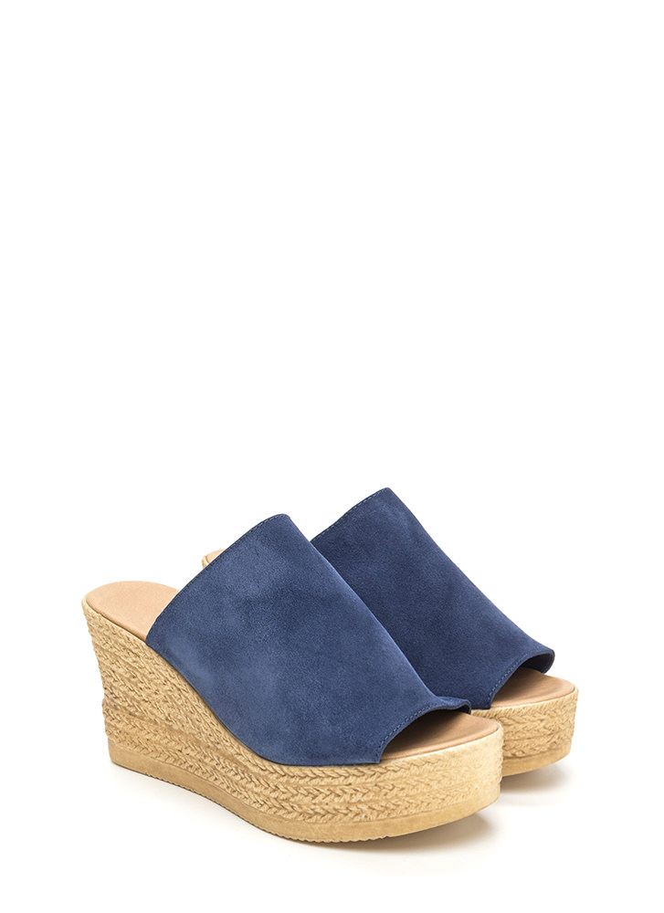 On Holiday Faux Suede Espadrille Wedges BLUE