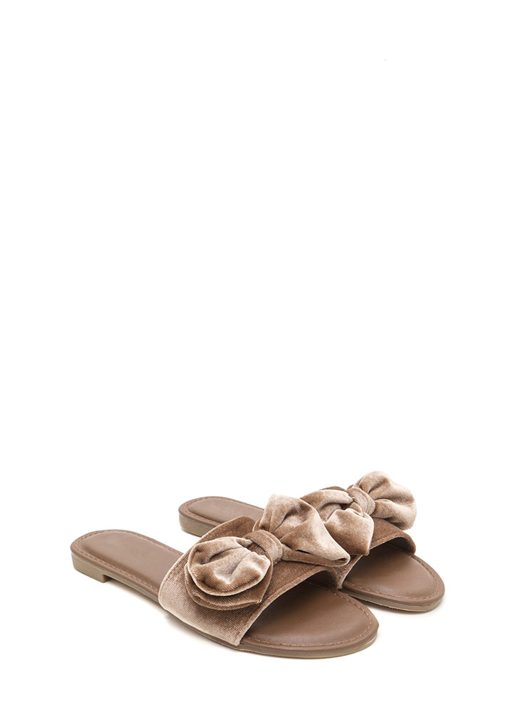 Bow A Long Way Velvet Slide Sandals TAUPE