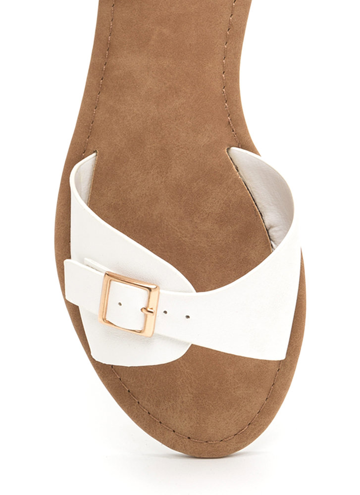 Buckle Down Faux Leather Slide Sandals WHITE