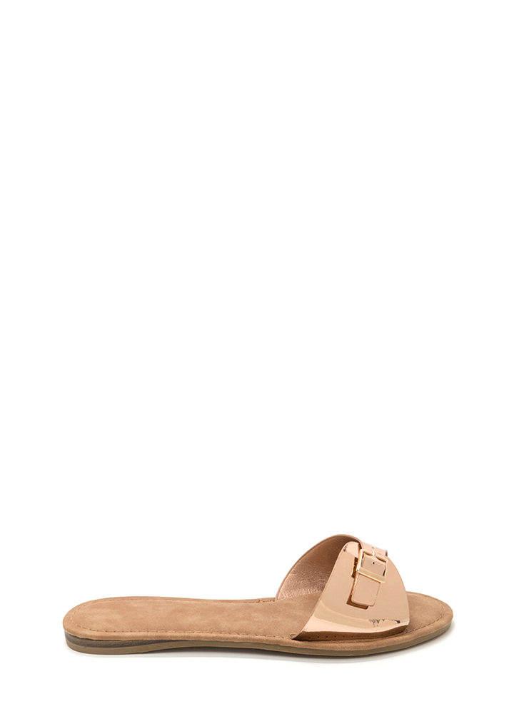 Buckle Down Metallic Slide Sandals ROSEGOLD