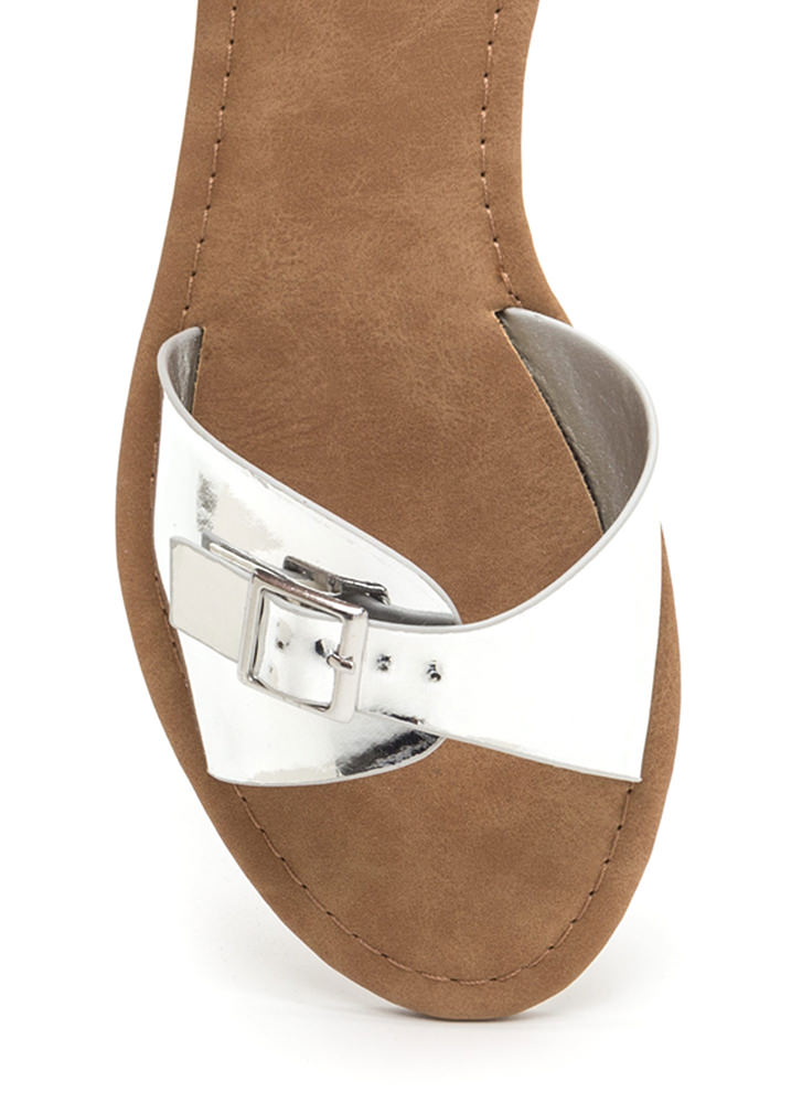 Buckle Down Metallic Slide Sandals SILVER