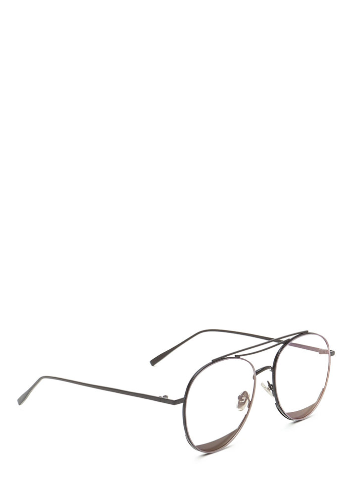 Bar Tab Shiny Accent Aviator Glasses BLACK