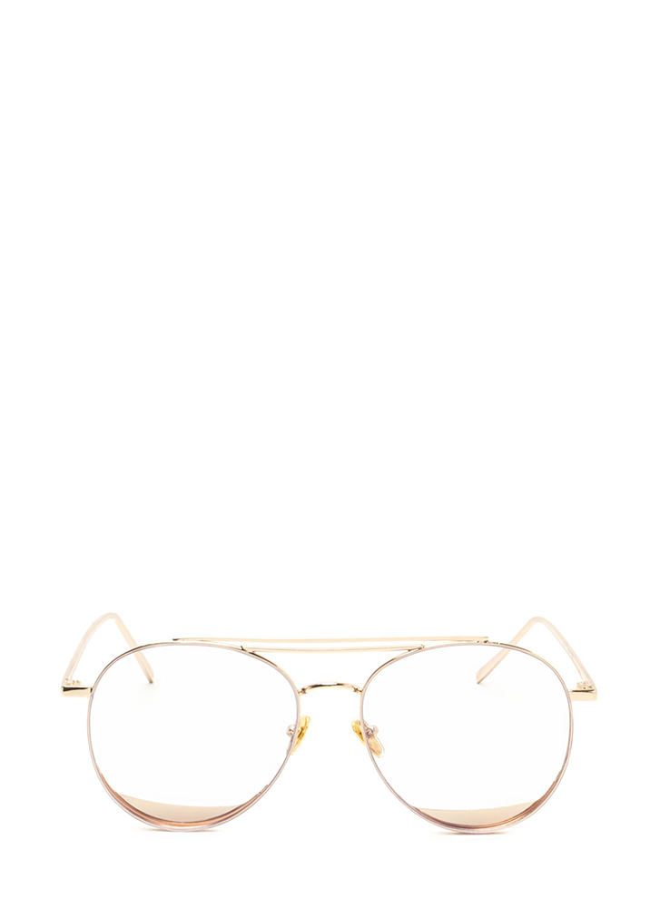 Bar Tab Shiny Accent Aviator Glasses GOLD