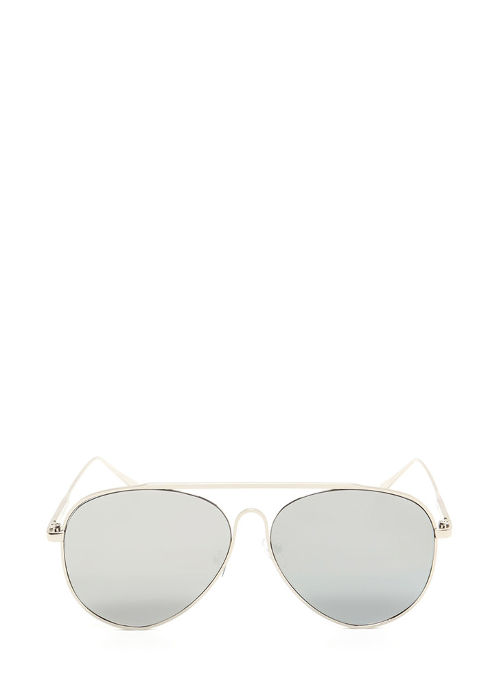 One Fell Swoop Aviator Sunglasses SILVER (Final Sale)