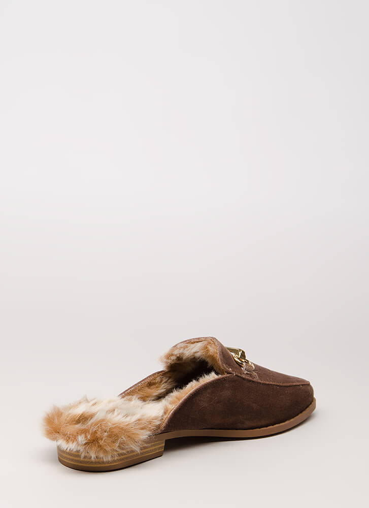 Luxe Lifestyle Furry Velvet Mule Flats TAUPE