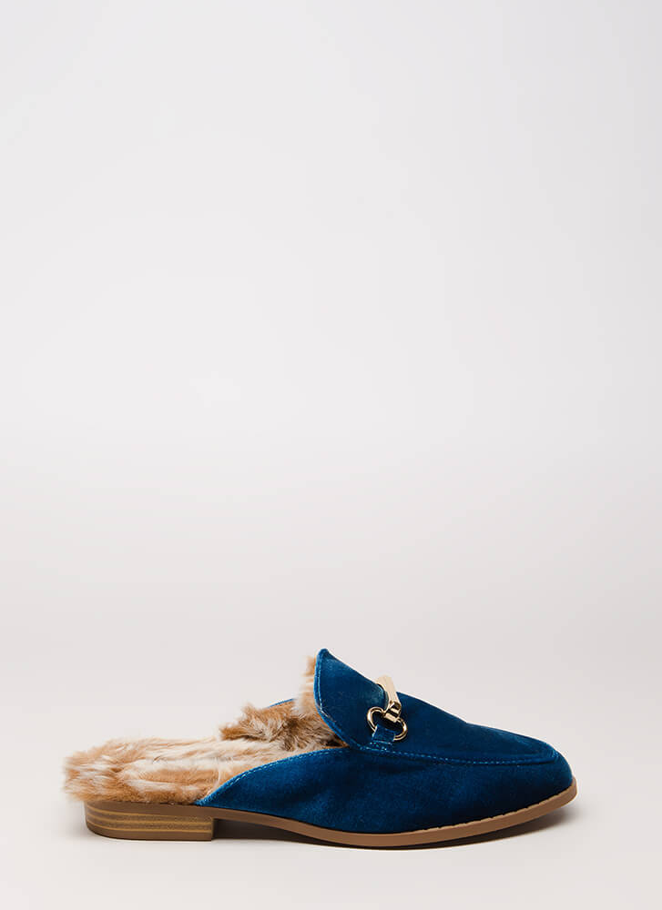 Luxe Lifestyle Furry Velvet Mule Flats TEAL