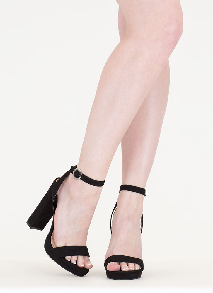 Go Easy Chunky Faux Suede Heels BLACK