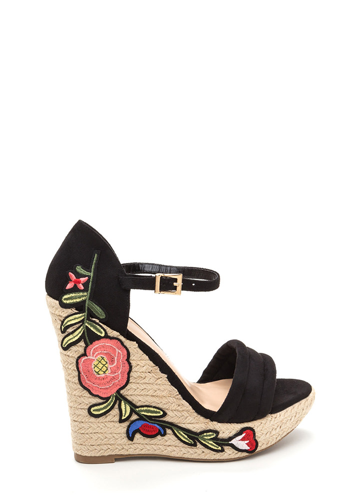 Boardwalk Party Floral Espadrille Wedges BLACK