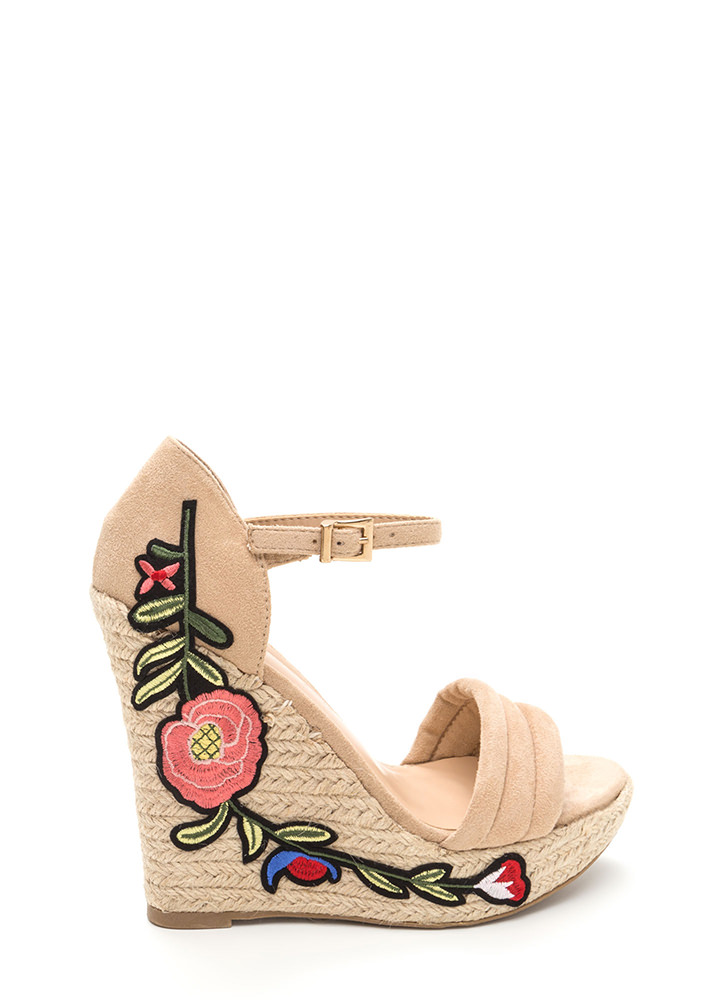 Boardwalk Party Floral Espadrille Wedges NATURAL