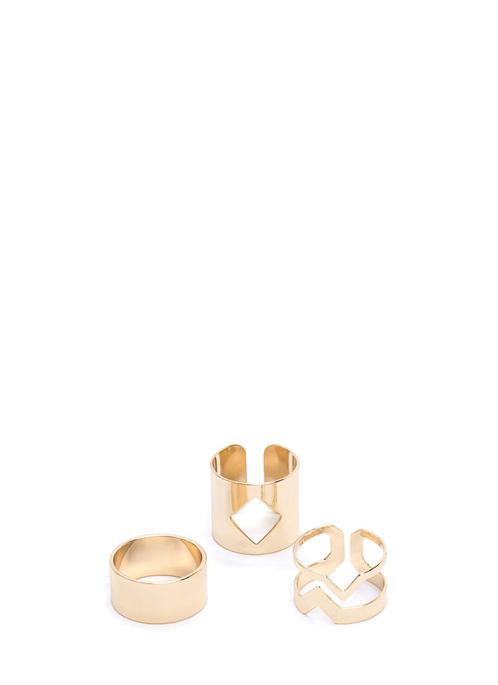 It Factor Cut-Out Ring Set GOLD (Final Sale)