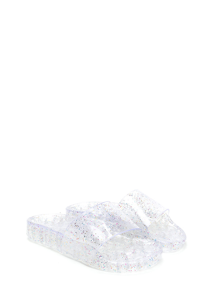 Twinkle Toes Glitzy Jelly Slide Sandals CLEAR