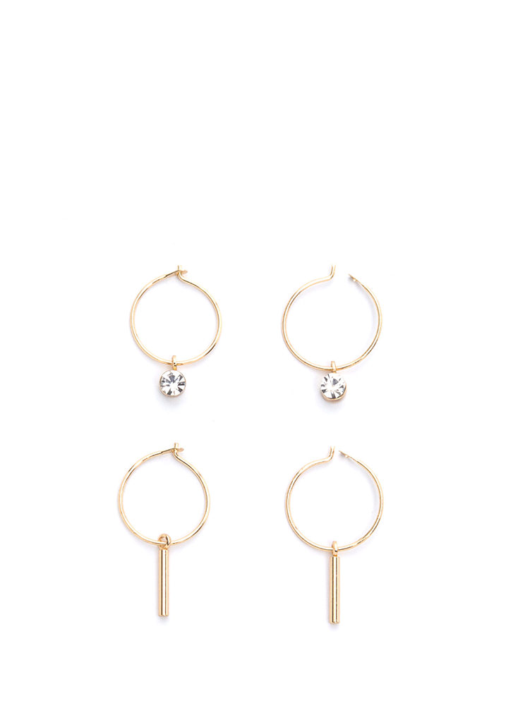 Sweet Side Charm Hoop Earring Set GOLD (You Saved $6)