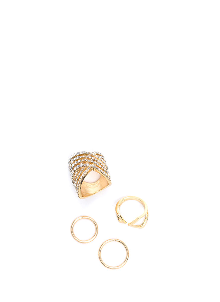 X Off Cut-Out Rhinestone Ring Set GOLD