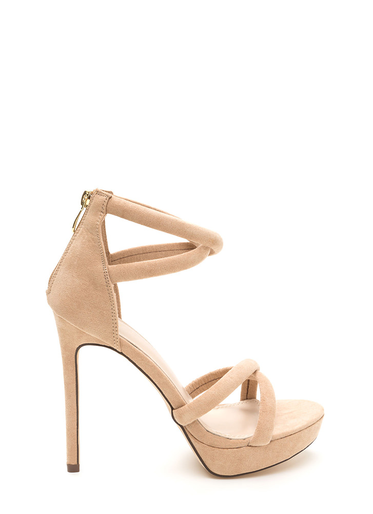 Double Cross Strappy Faux Suede Heels PINK NUDE SEAGREEN BLACK ...