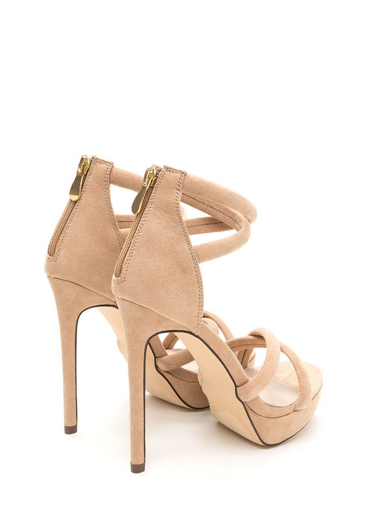 Double Cross Strappy Faux Suede Heels NUDE