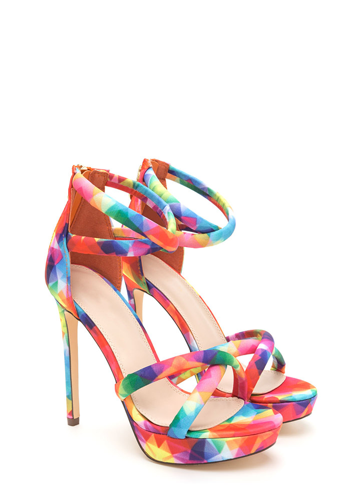 Double Cross Strappy Rainbow Heels MULTI
