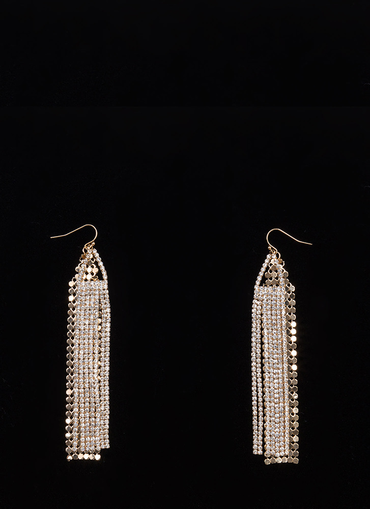 Special Sparkle Layered Fringe Earrings GOLD