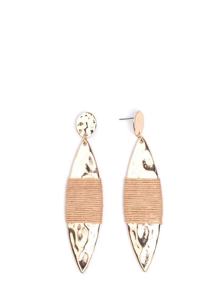 Pull Strings Hammered Earrings BEIGEGOLD