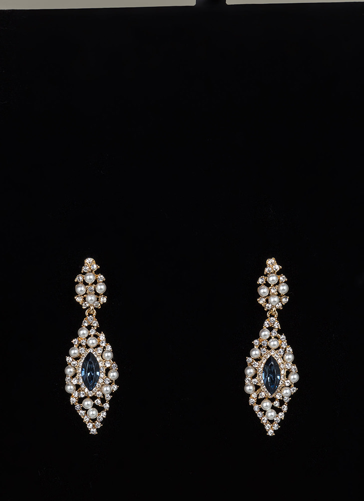 Precious Pearls Jeweled Almond Earrings GOLD
