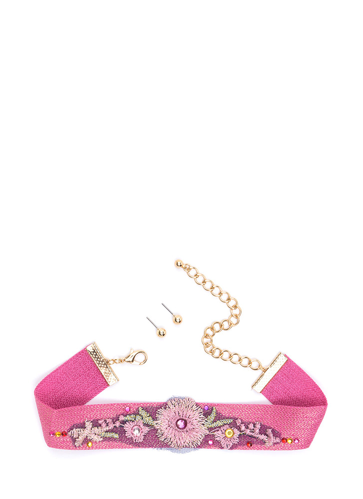 Wildflower Embroidered Choker Set PINKMULTI (Final Sale)