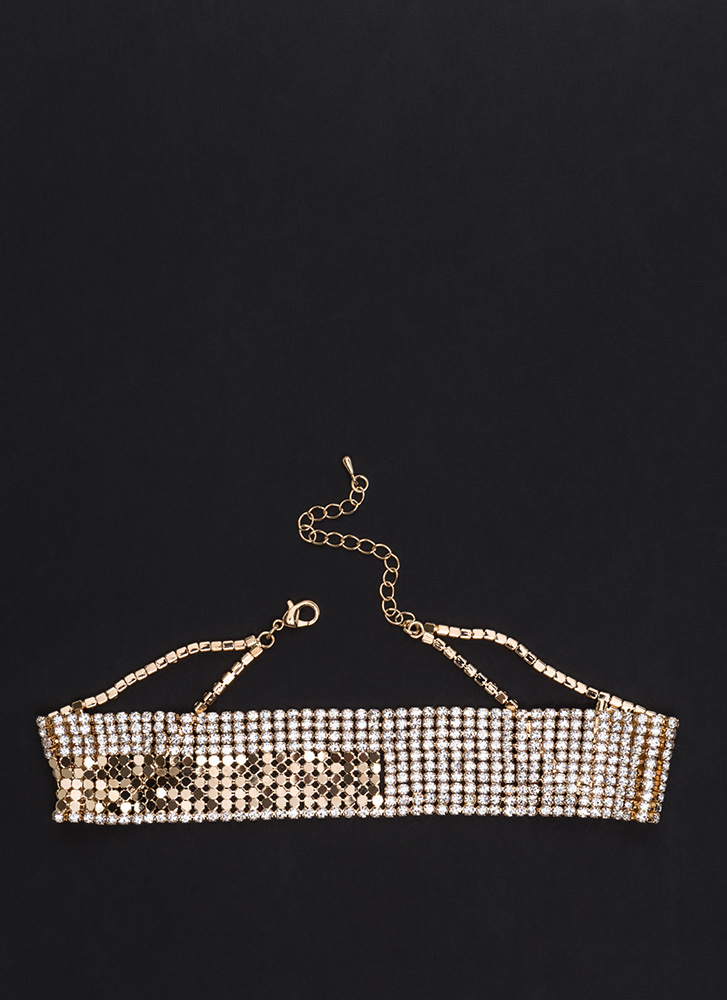 Extravagant Party Wide Rhinestone Choker GOLD
