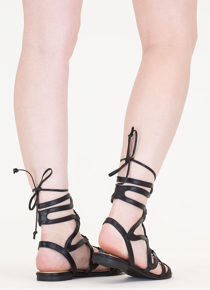 Waving Hello Lace-Up Gladiator Sandals BLACK
