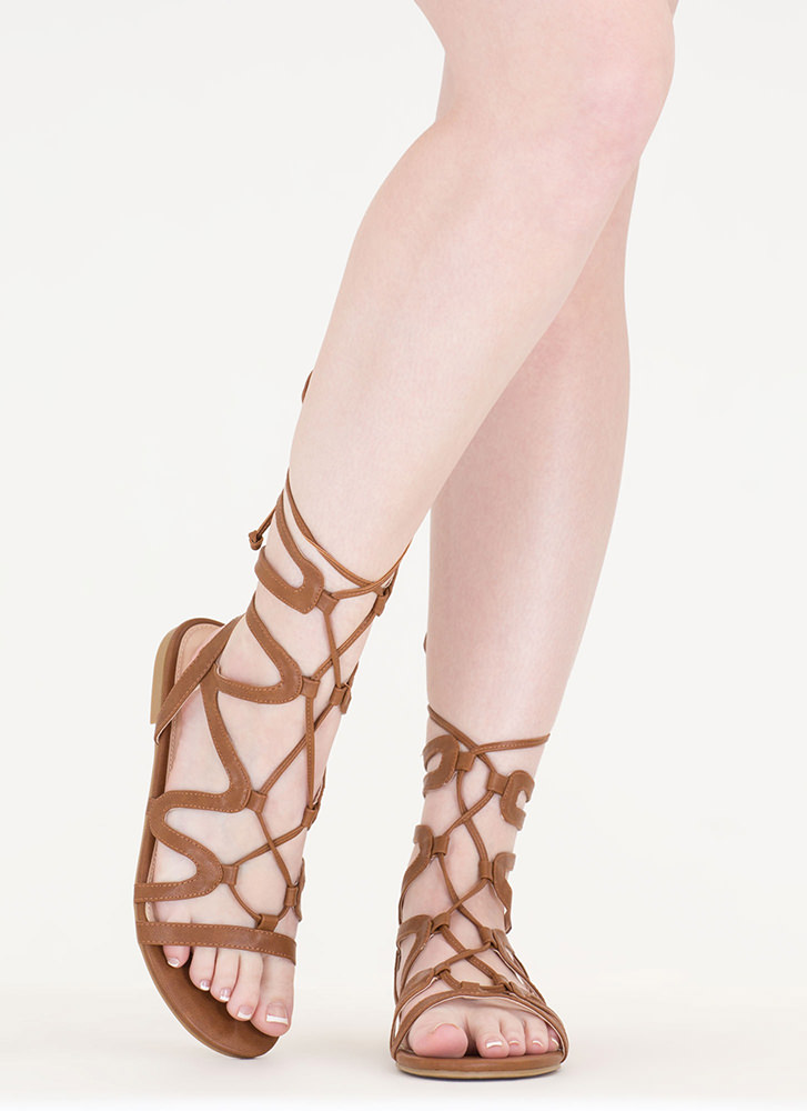 Waving Hello Lace-Up Gladiator Sandals COGNAC