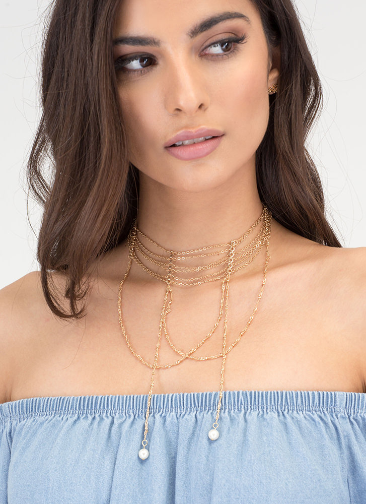 Fancy Evening Draped Necklace Set GOLD