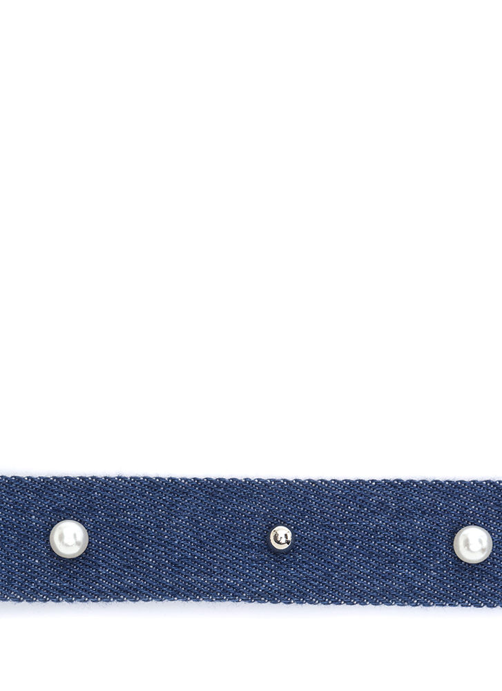 You Go Pearl Studded Denim Choker DKBLUE