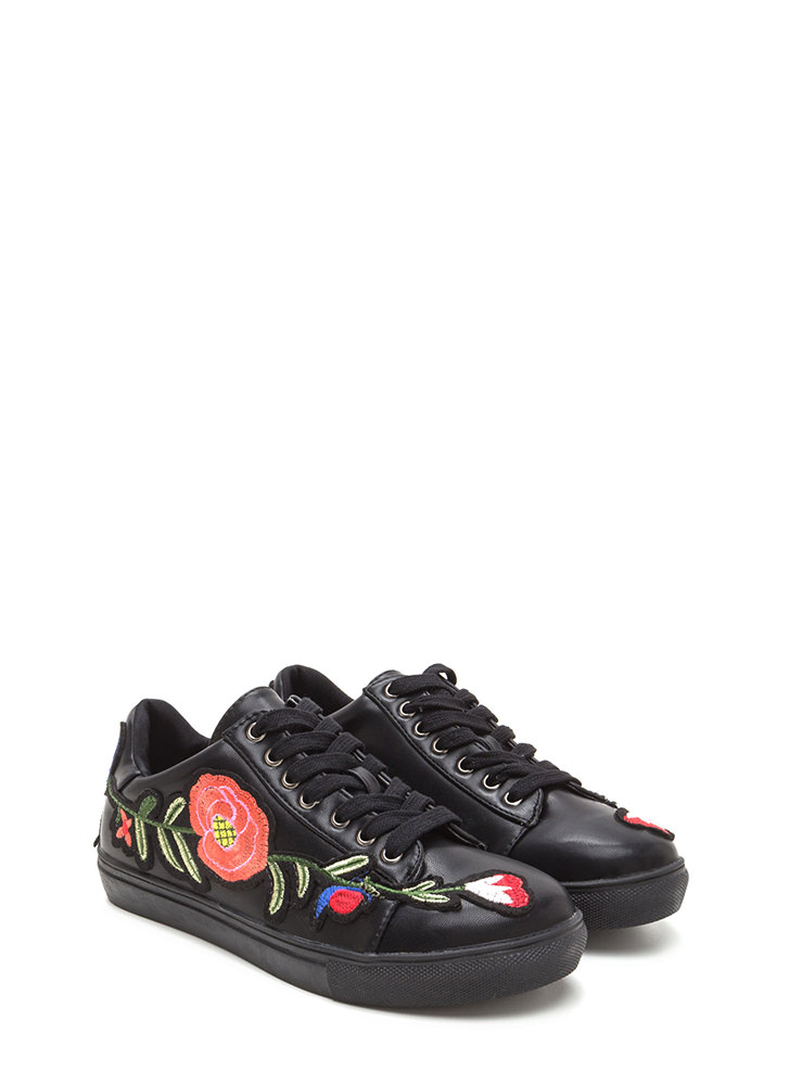 Sew Cute Applique Flower Sneakers BLACK