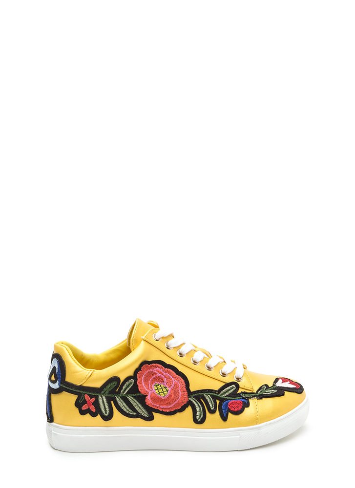 Sew Cute Applique Flower Sneakers YELLOW