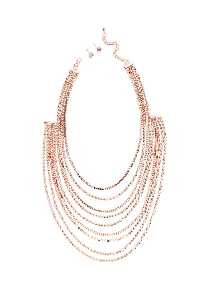 Team Layer Draped Chain Necklace Set ROSEGOLD