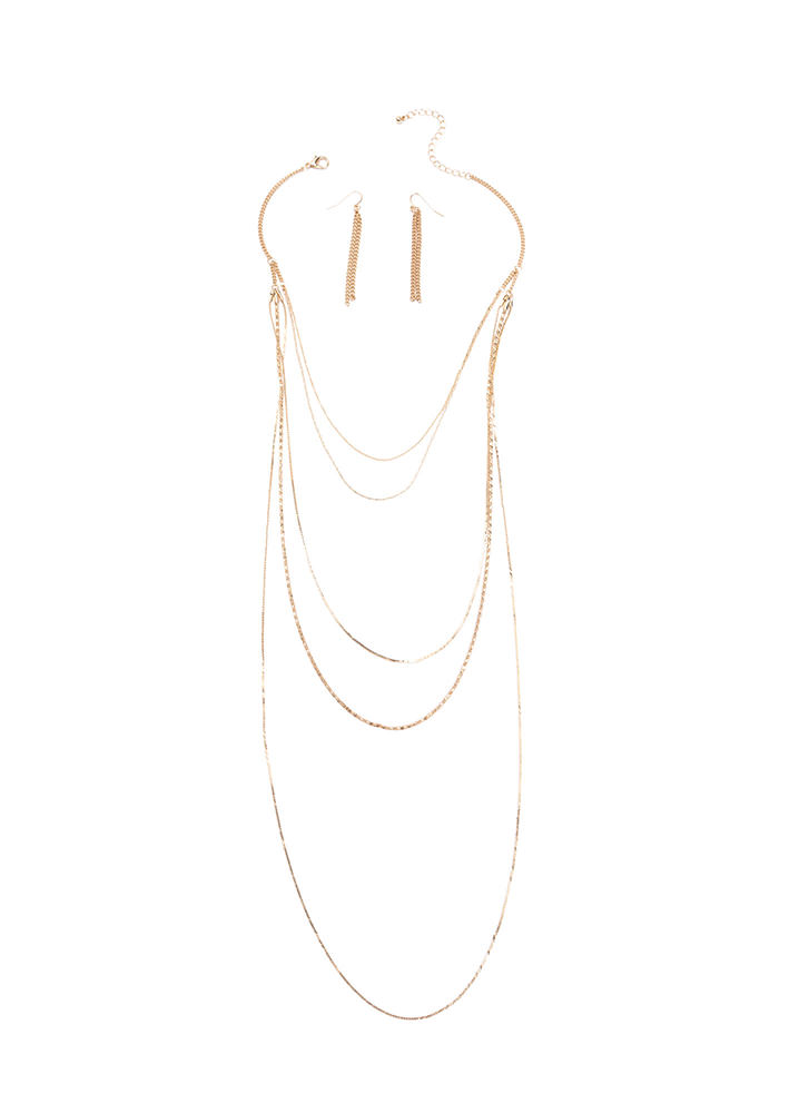 Most Valuable Layer Chain Necklace Set GOLD