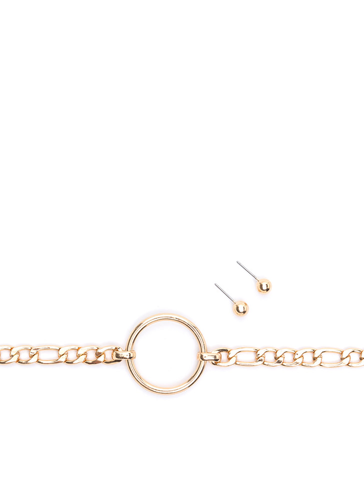Ring It Chain Choker Set GOLD