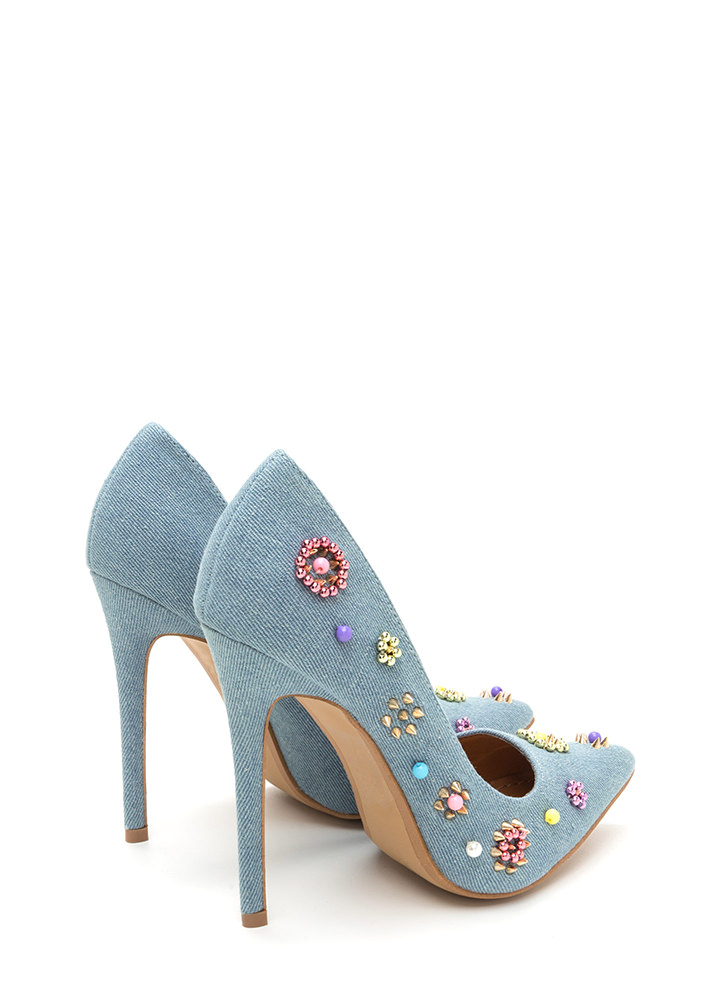 Playful Details Pointy Denim Pumps BLUE