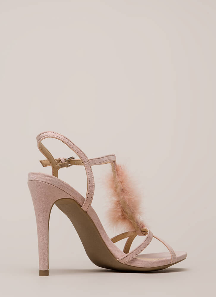 Feather Or Not Caged Faux Suede Heels NUDE (Final Sale)