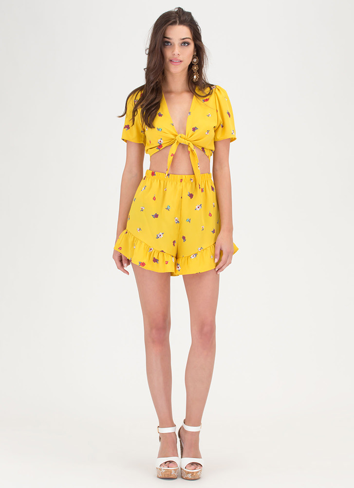 Flower Delivery Tied Top And Shorts Set YELLOW
