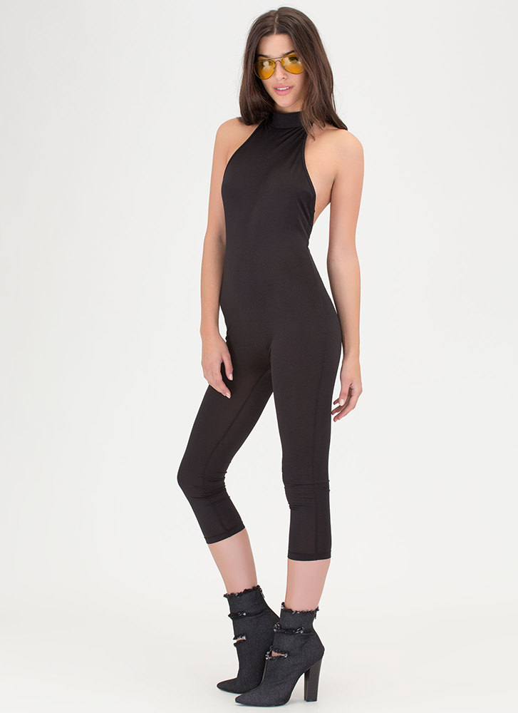 Show Me The Honey Halter Jumpsuit BLACK