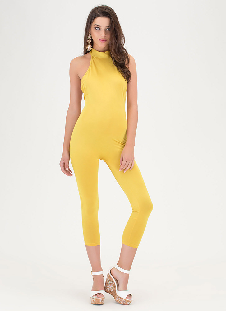 Show Me The Honey Halter Jumpsuit MUSTARD