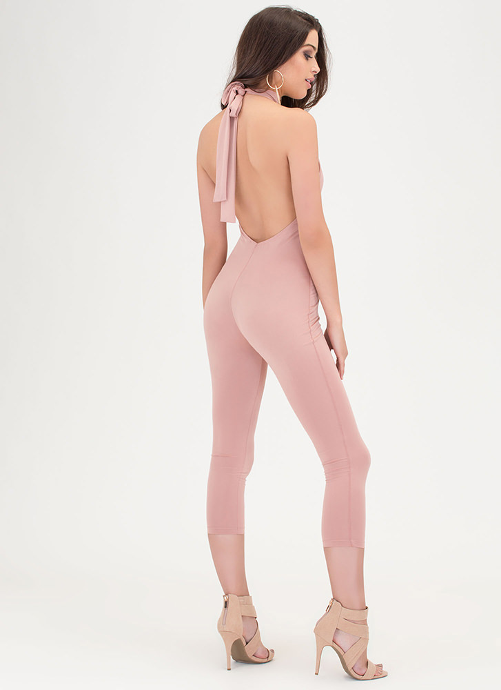 Show Me The Honey Halter Jumpsuit ROSE