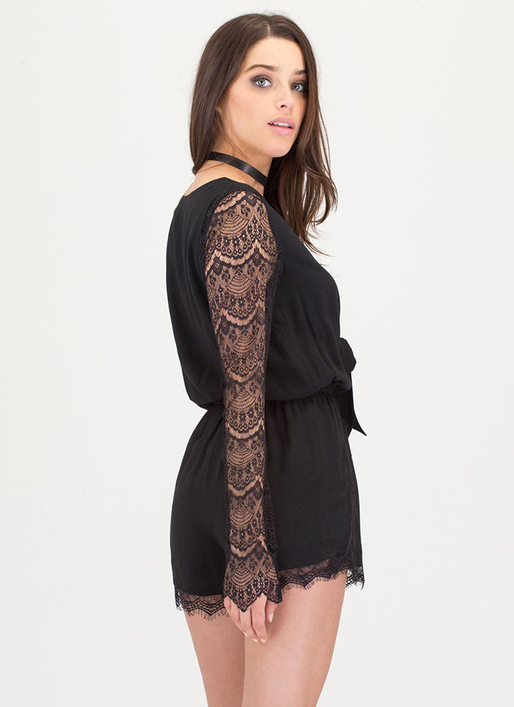 New Romance Plunging Lace Romper BLACK