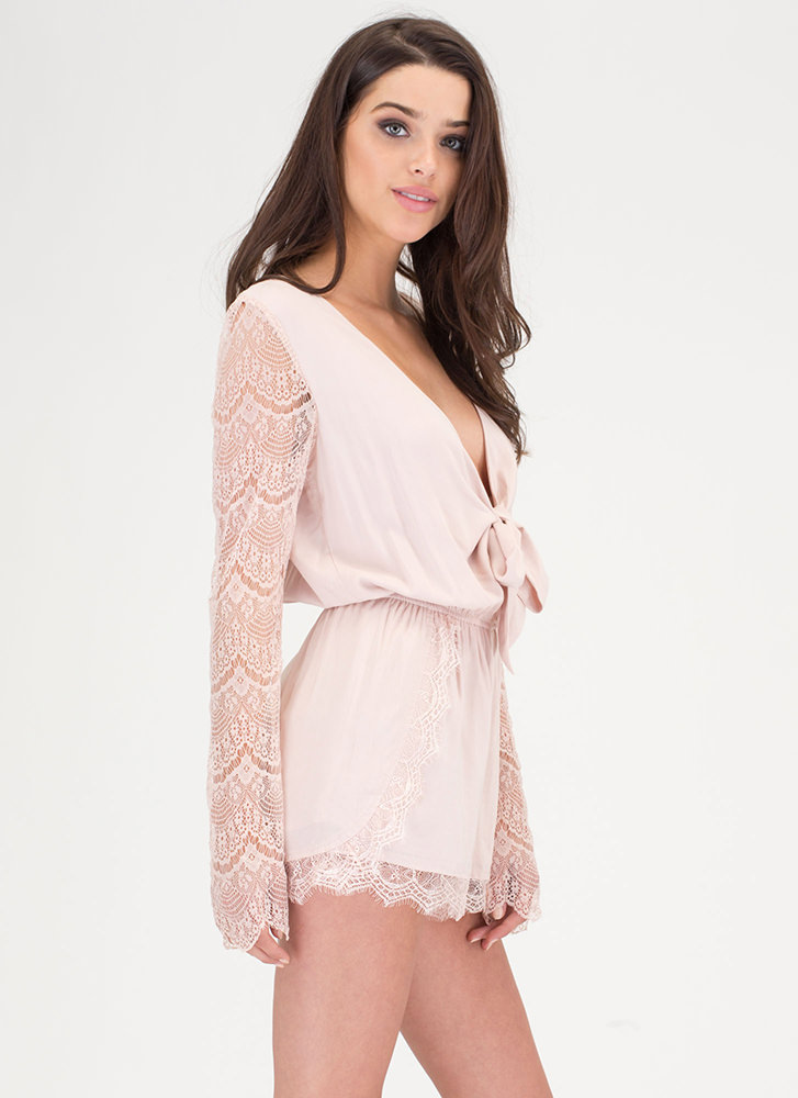 New Romance Plunging Lace Romper BLUSH (You Saved $25)